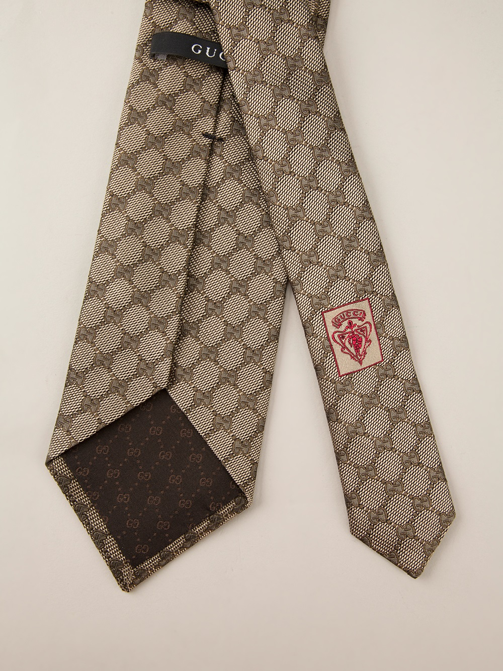 Gucci Monogram Print Tie in Brown for Men Lyst