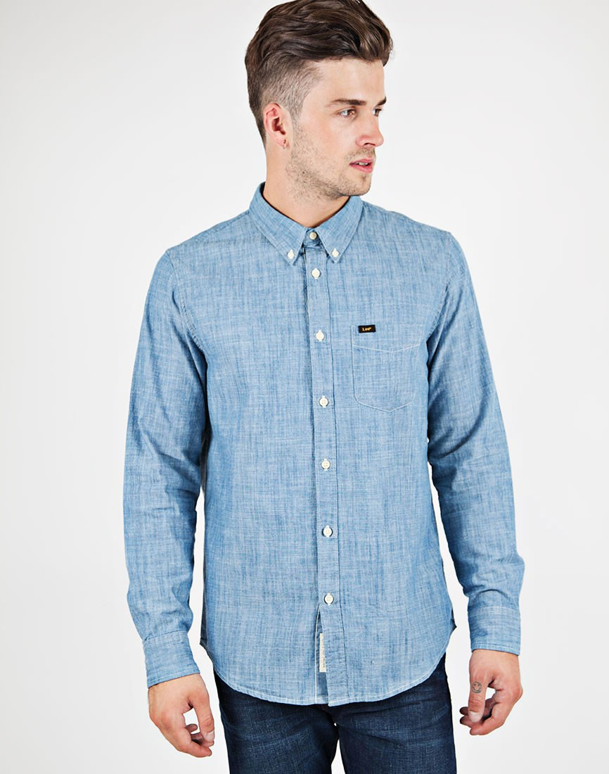 Lee jeans Button Down Shirt In Indigo Chambray in Blue for Men | Lyst