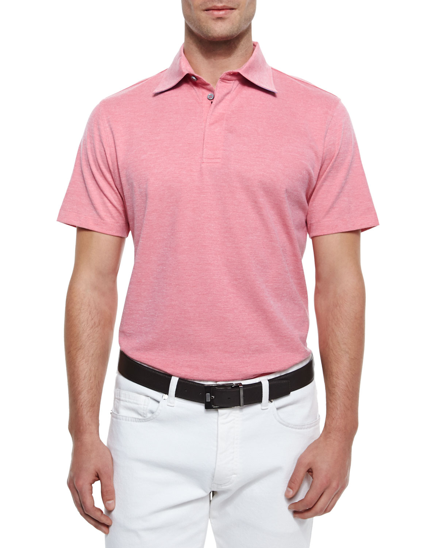 Lyst ermenegildo zegna short sleeve knit polo shirt in for Knitted polo shirt mens