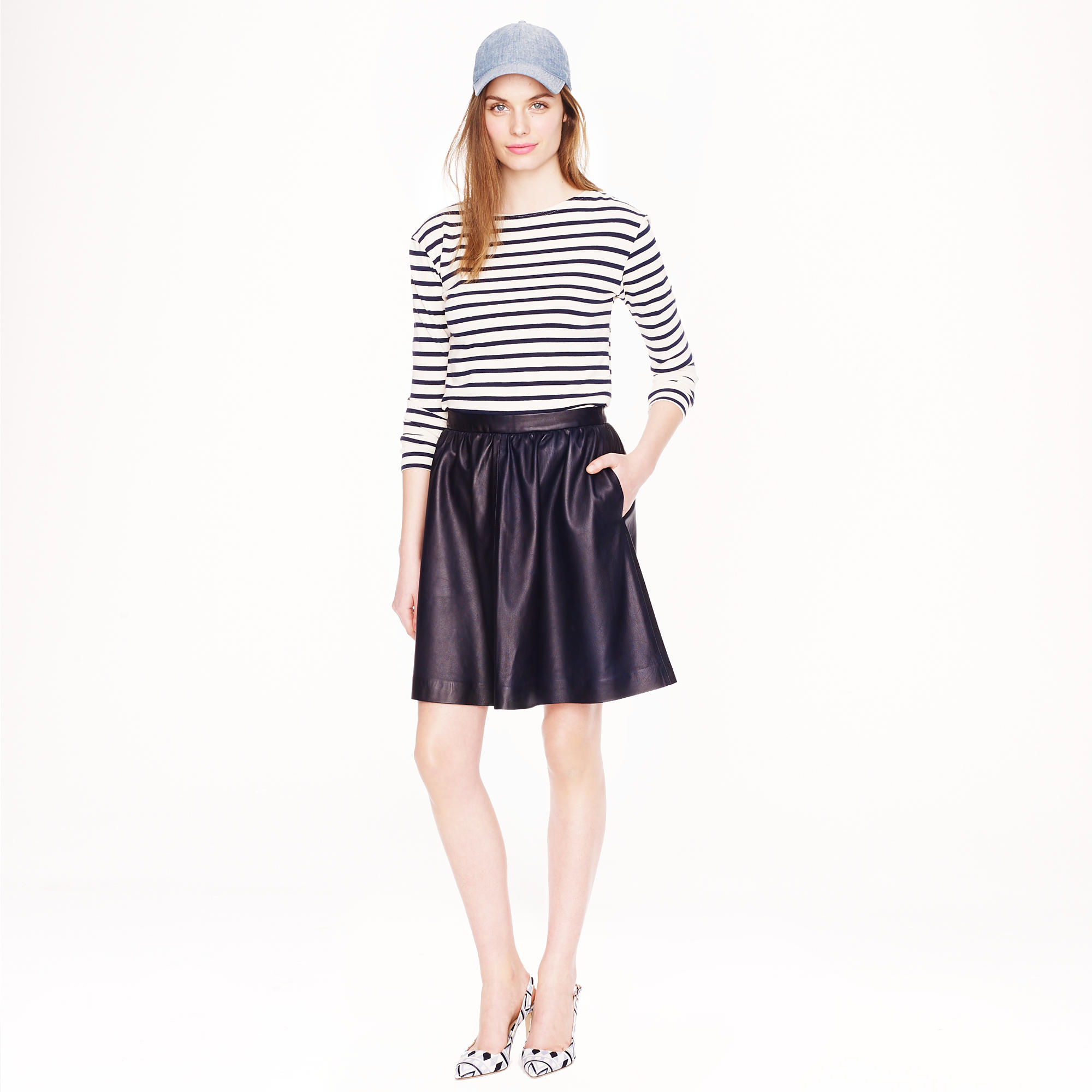J.crew Collection Leather Skirt in Blue | Lyst