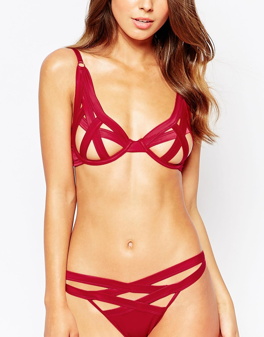 Asos Angelina Strappy Underwire Bra Red on wire color code