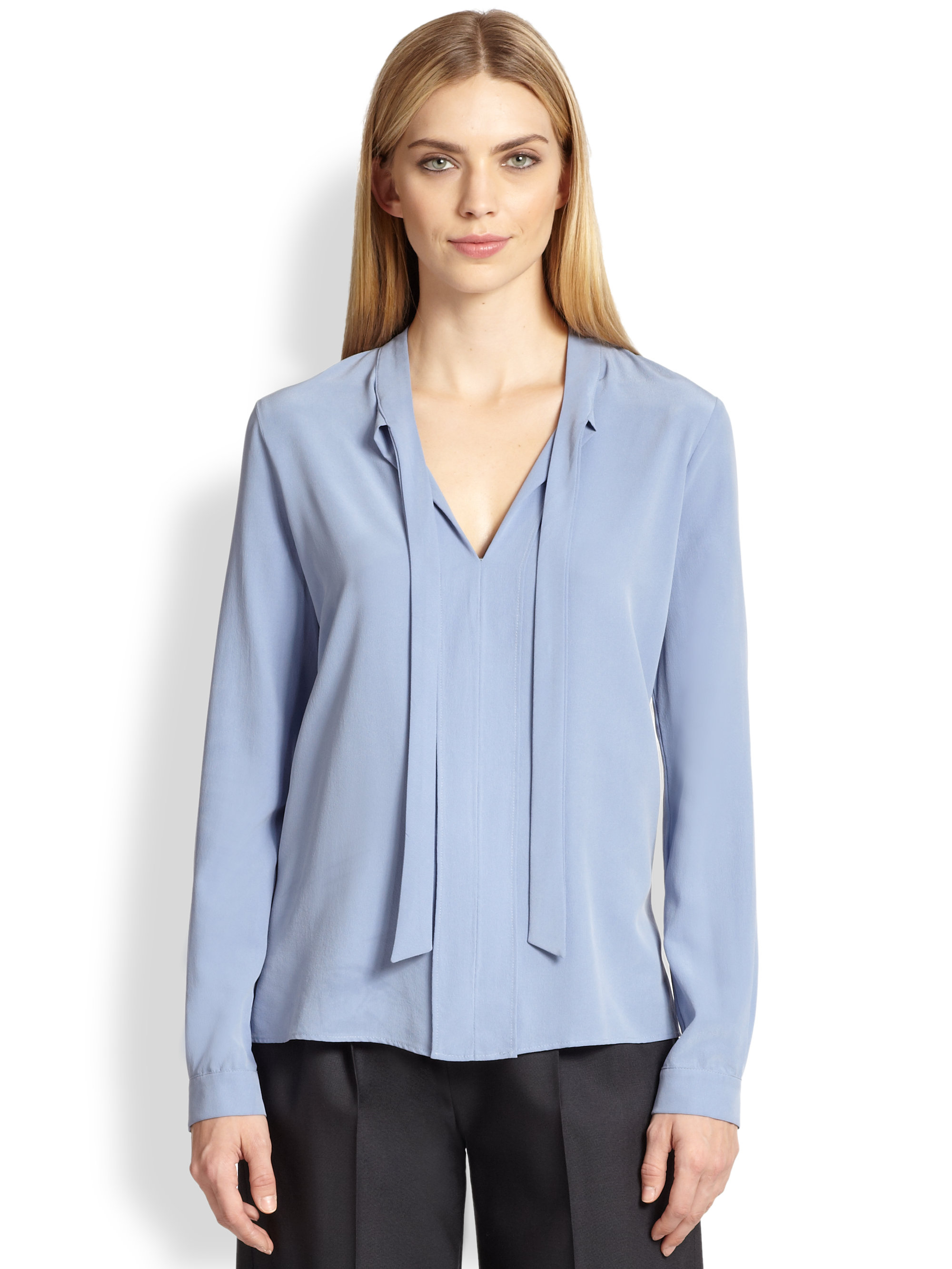 Lyst Max Mara Tie Neck Blouse In Blue