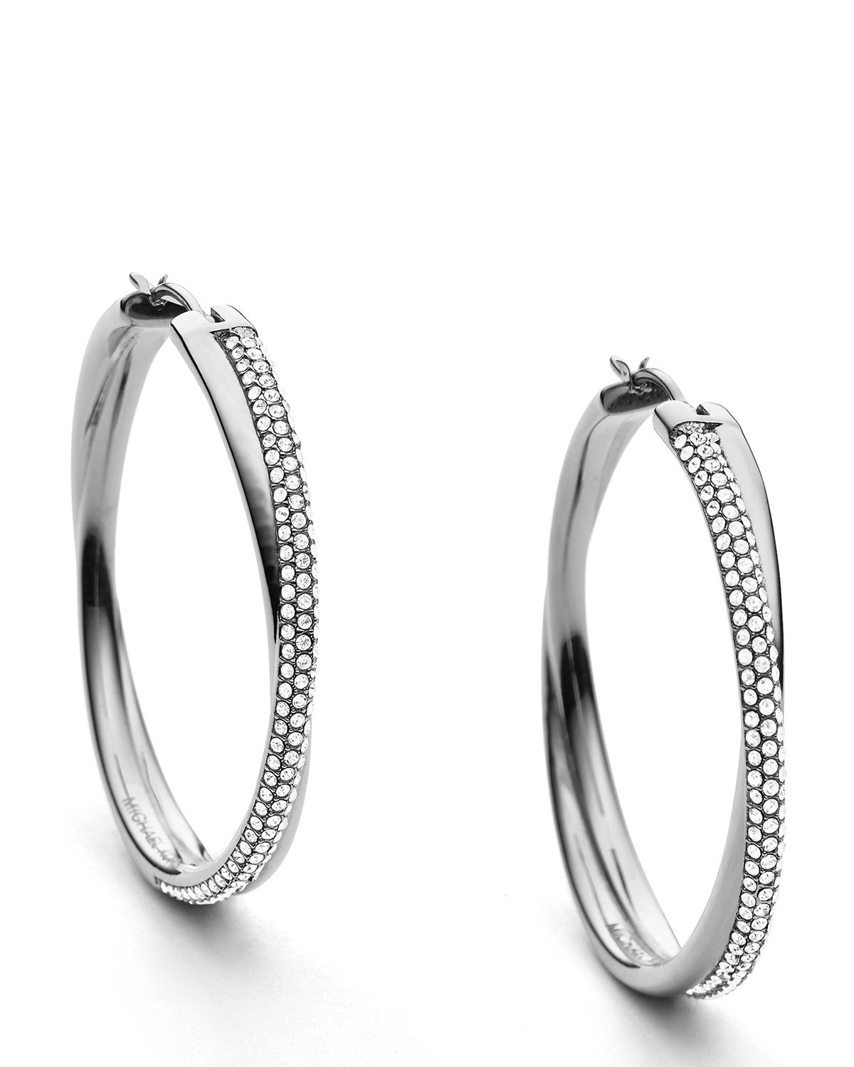 michael hoop earrings michael kors crisscross pave hoop earrings in metallic lyst 4516