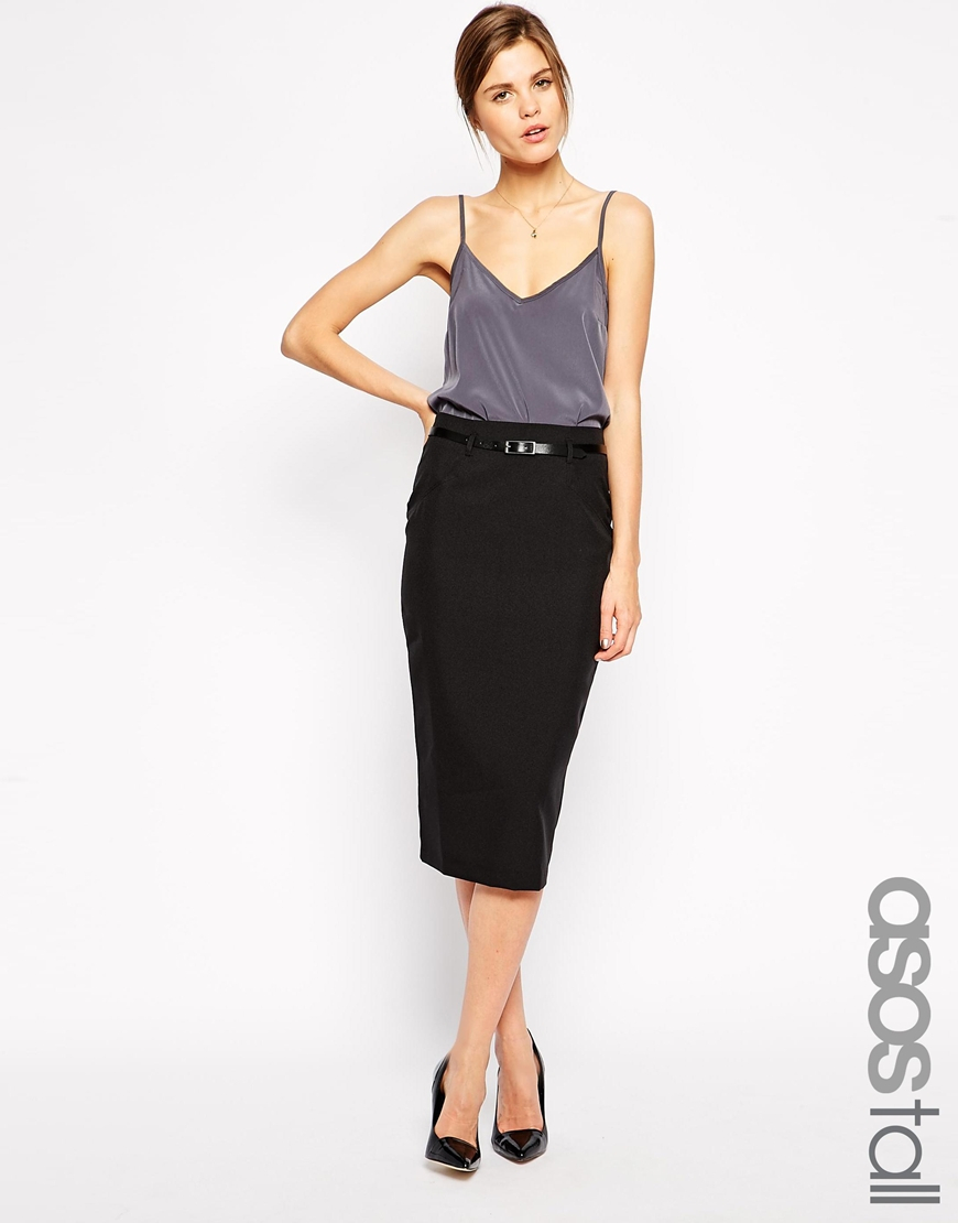 Asos Exclusive Belted Pencil Skirt In Midi Length in Black | Lyst