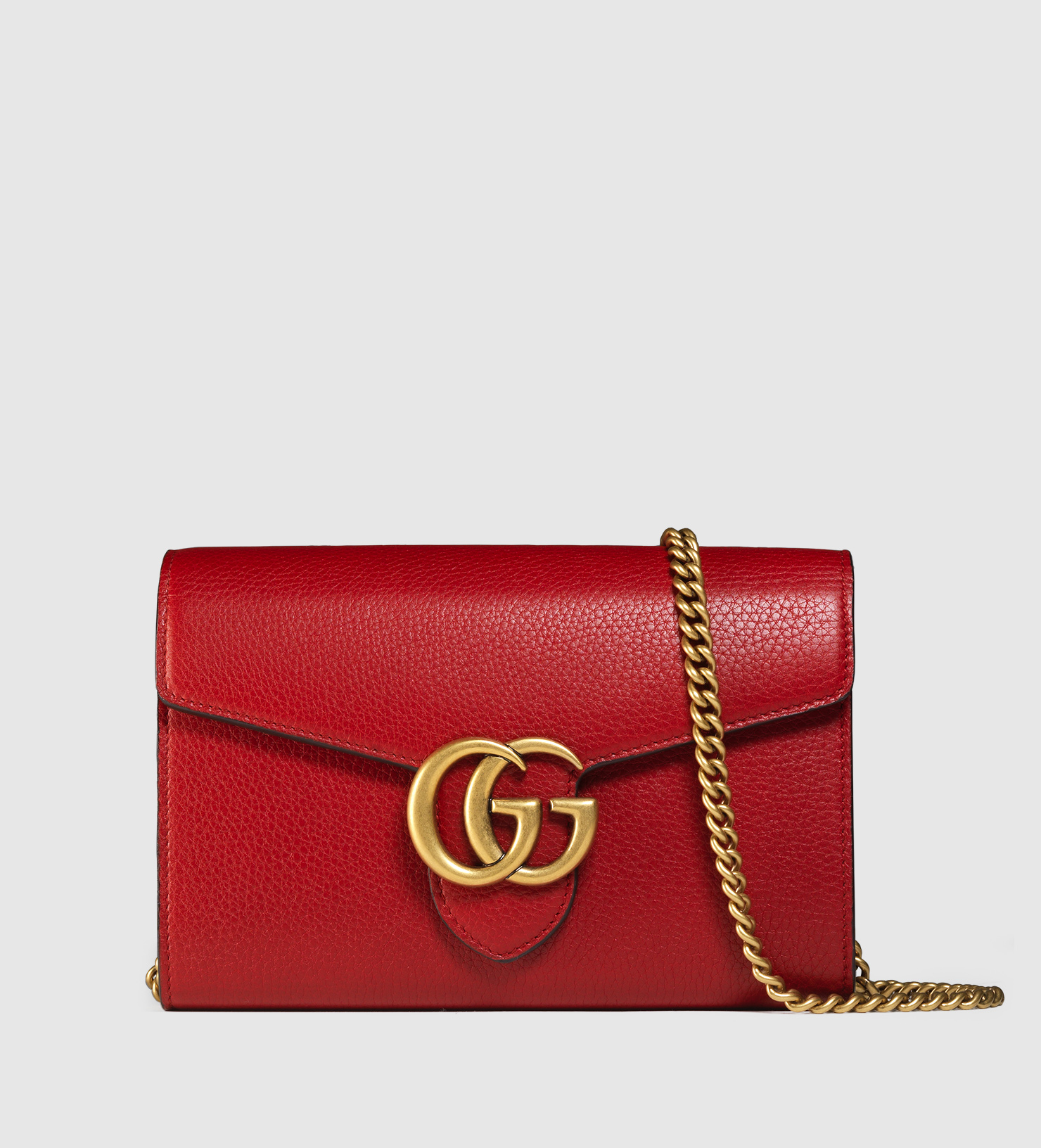 Lyst - Gucci Gg Marmont Leather Chain Wallet in Red 566cb2282ae91