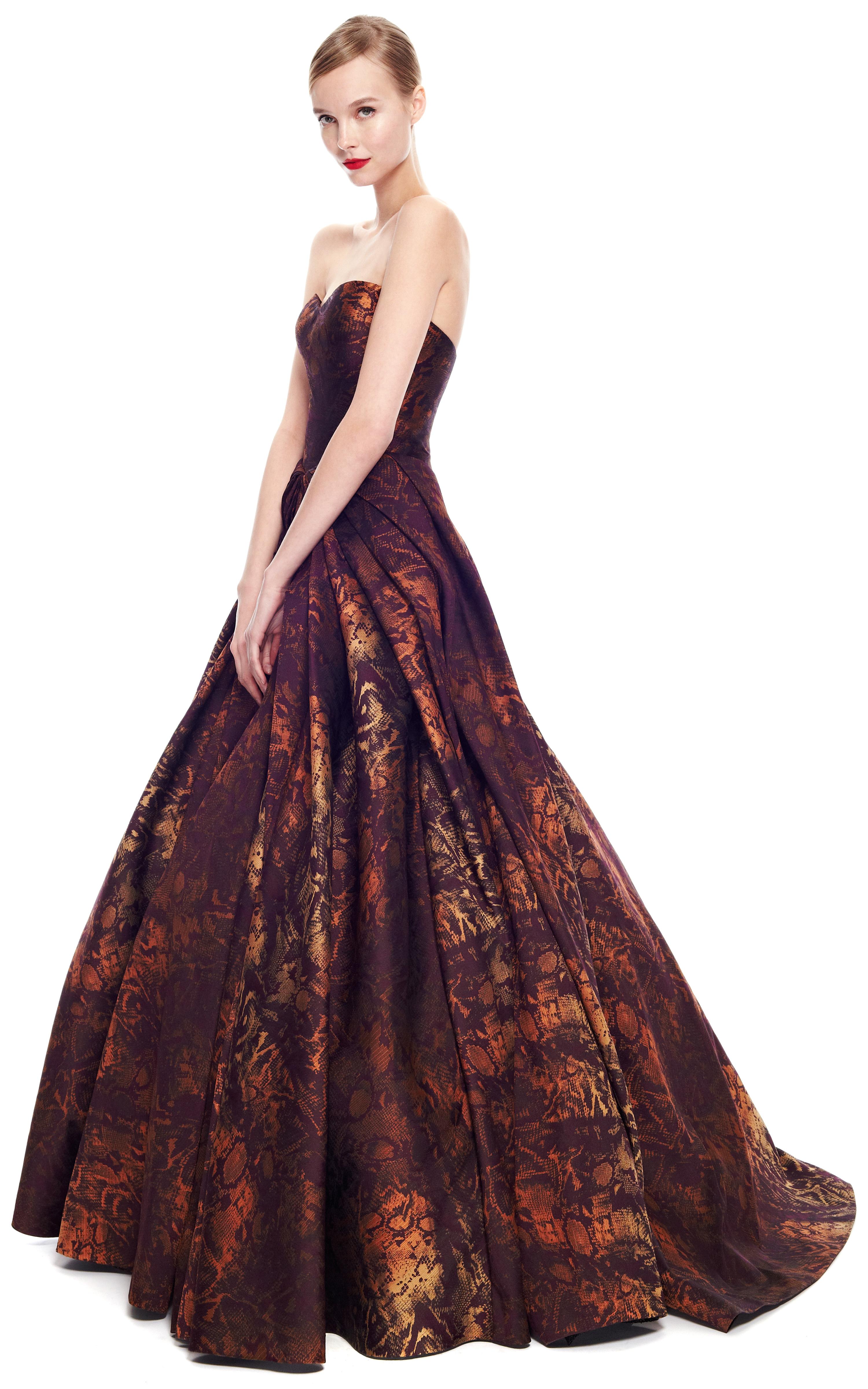 b50d36b2ab2 Lyst - Zac Posen Python Floral Jacquard Strapless Gown