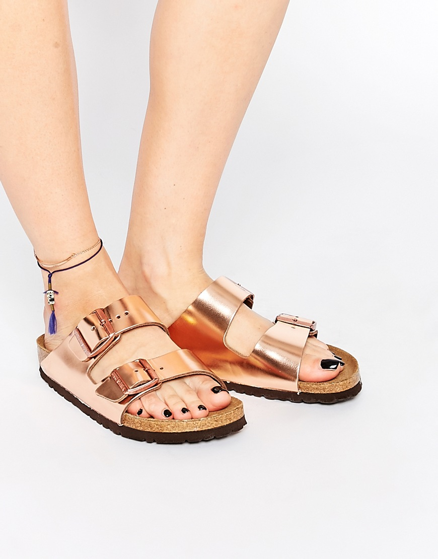 Birkenstock Arizona Metallic Copper Narrow Fit Flat