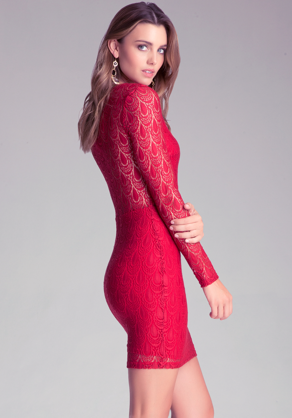 lyst bebe cutout lining lace dress in red. Black Bedroom Furniture Sets. Home Design Ideas