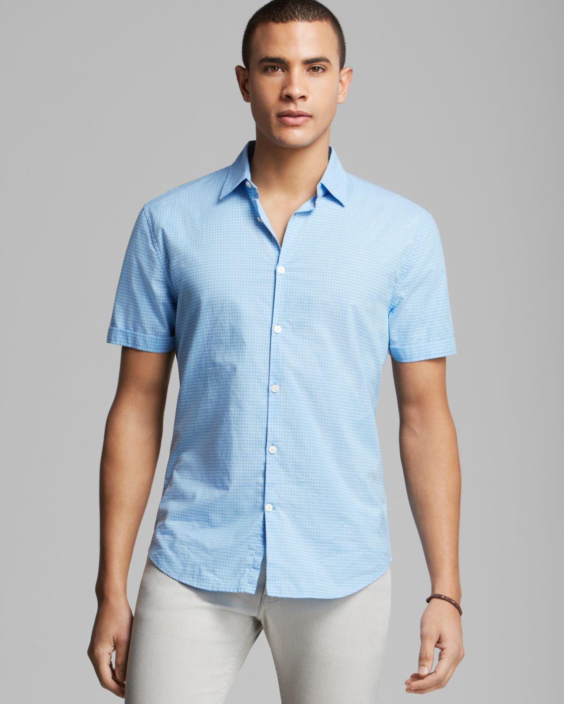 John Varvatos Usa Gingham Check Short Sleeve Sport Shirt