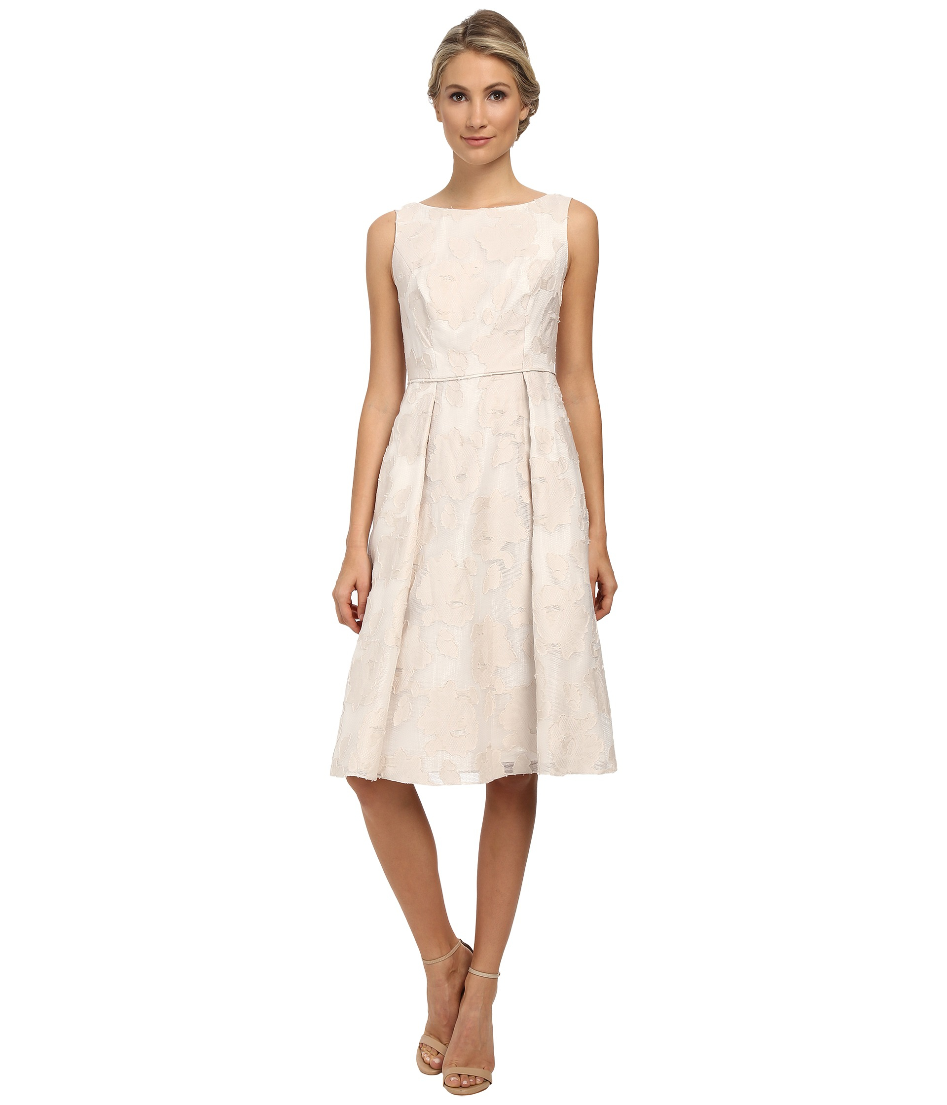 614d685bc52 Lyst - Adrianna Papell Burnout Netting Classic Pleat Dress in Natural