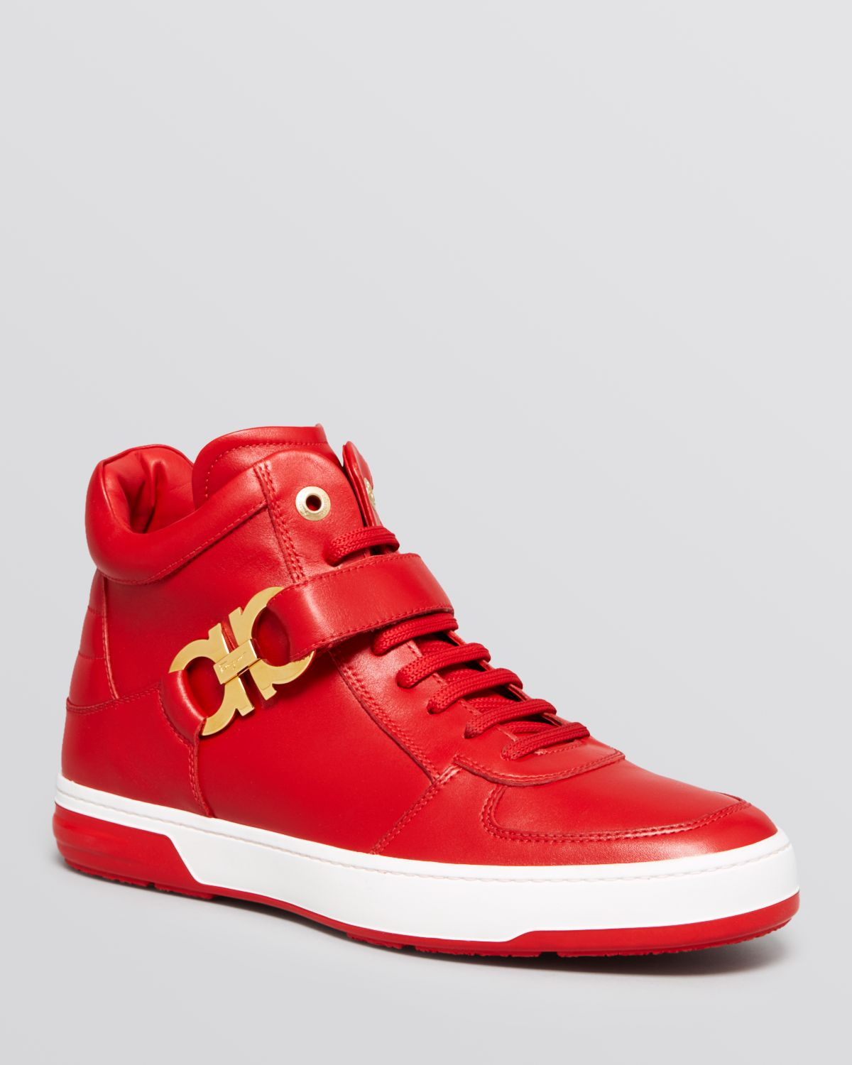 Lyst - Ferragamo Nayon High Top Sneakers in Red for Men f2f3832908