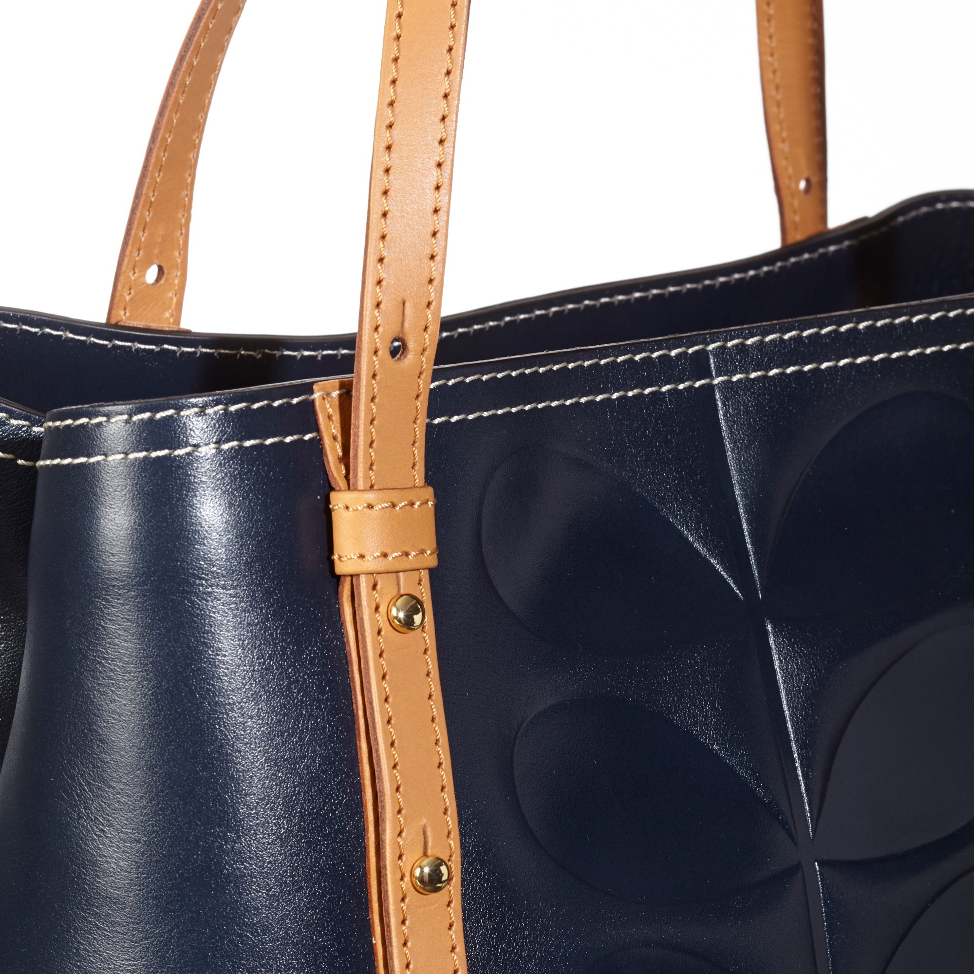 12f849e46985 Orla Kiely Embossed Stem Willow Leather Bag in Blue - Lyst