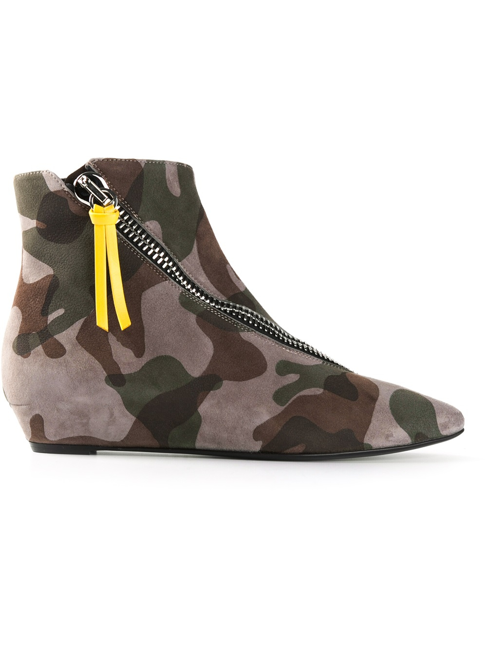 giuseppe zanotti camouflage ankle boots in green lyst