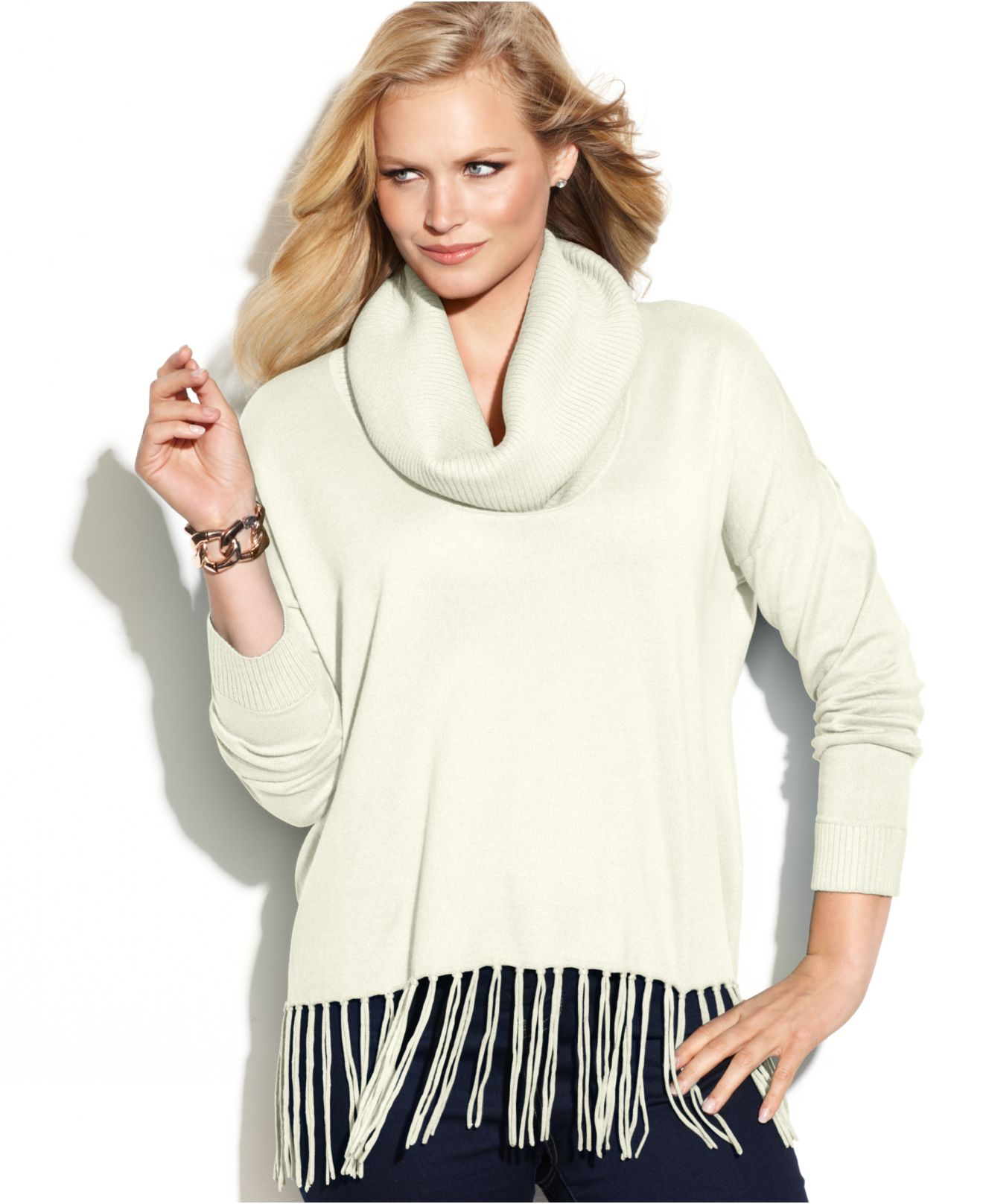Michael kors Michael Plus Size Cowl-neck Fringe Sweater in Natural ...