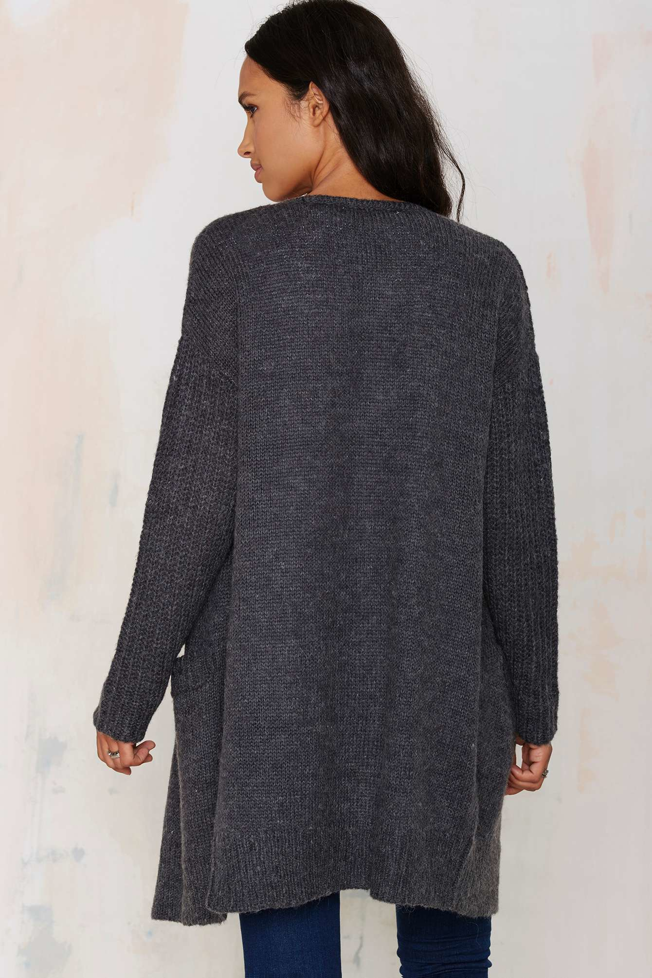 dbf4d371e23 Lyst - Joa You re Getting Warmer Knit Cardigan - Charcoal in Gray