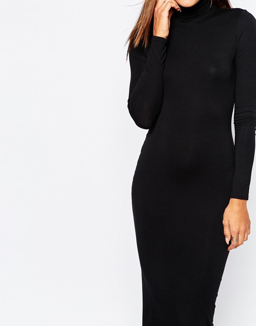 Lyst Missguided High Neck Long Sleeve Maxi Dress In Black