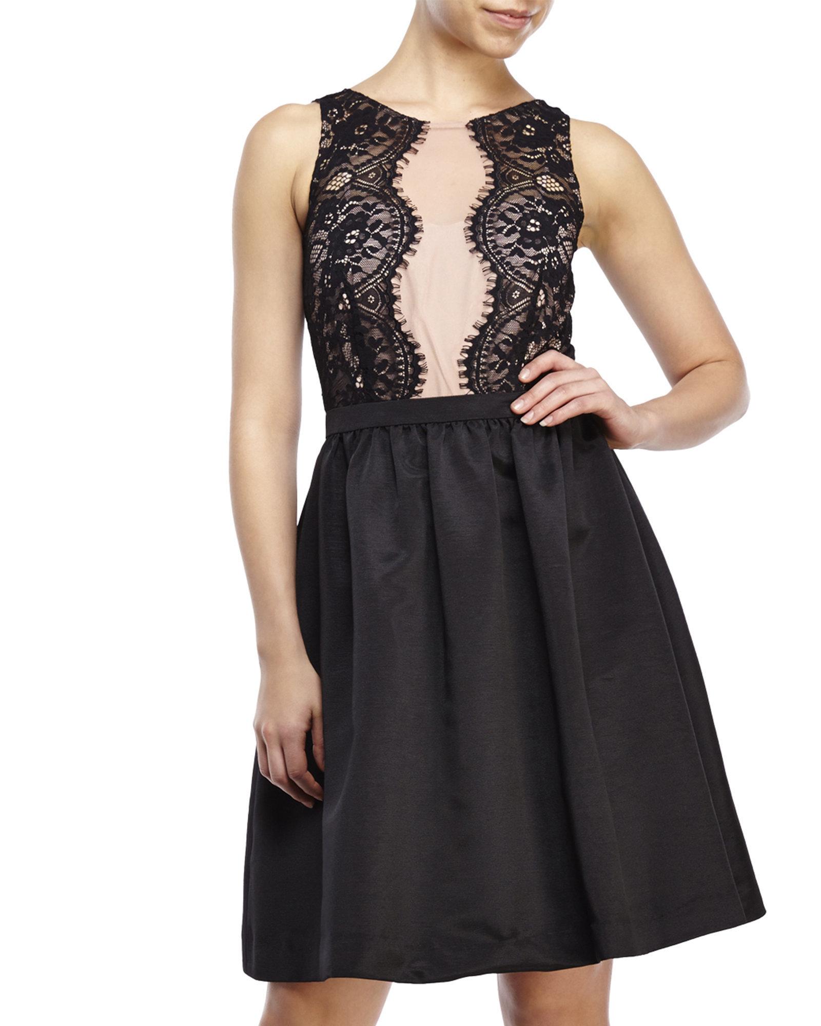 Lyst Ivanka Trump Lace Illusion Cocktail Dress In Black