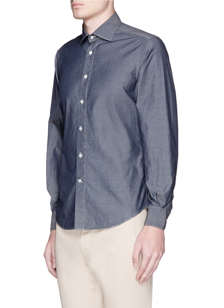 Lyst boglioli mini dot jacquard cotton chambray shirt in for Chambray 7 s