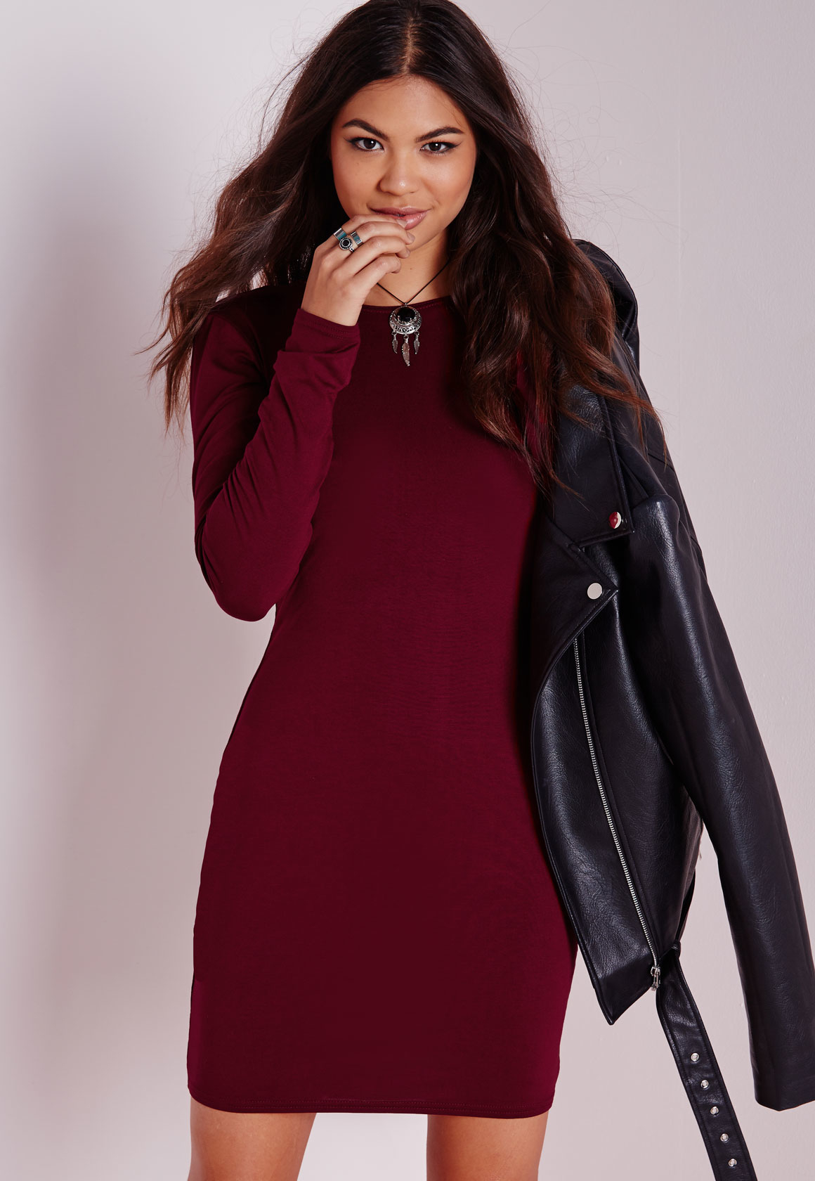 01ebf41f2448 Lyst - Missguided Long Sleeve Jersey Bodycon Dress Burgundy in Red