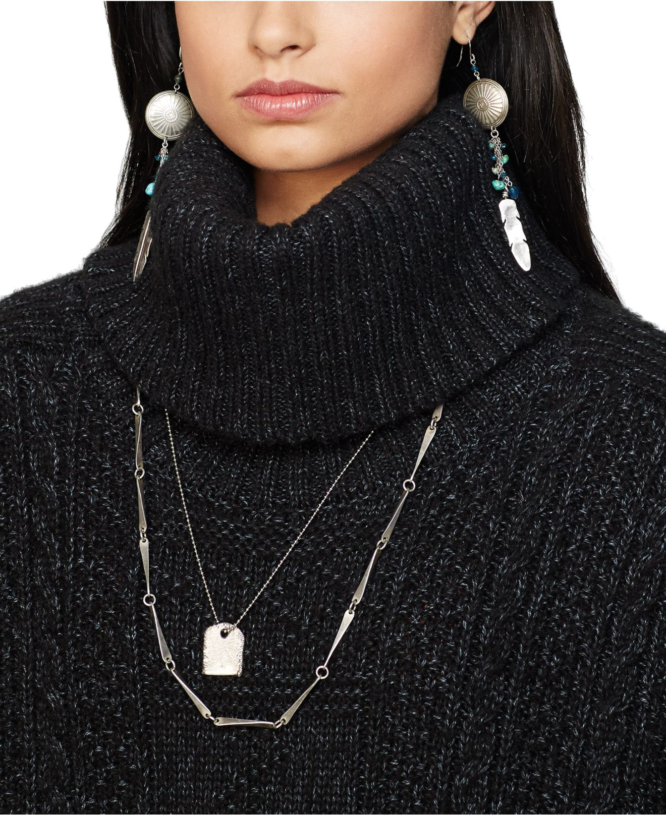 Denim & supply ralph lauren Cable-Knit Turtleneck Sweater in Black ...