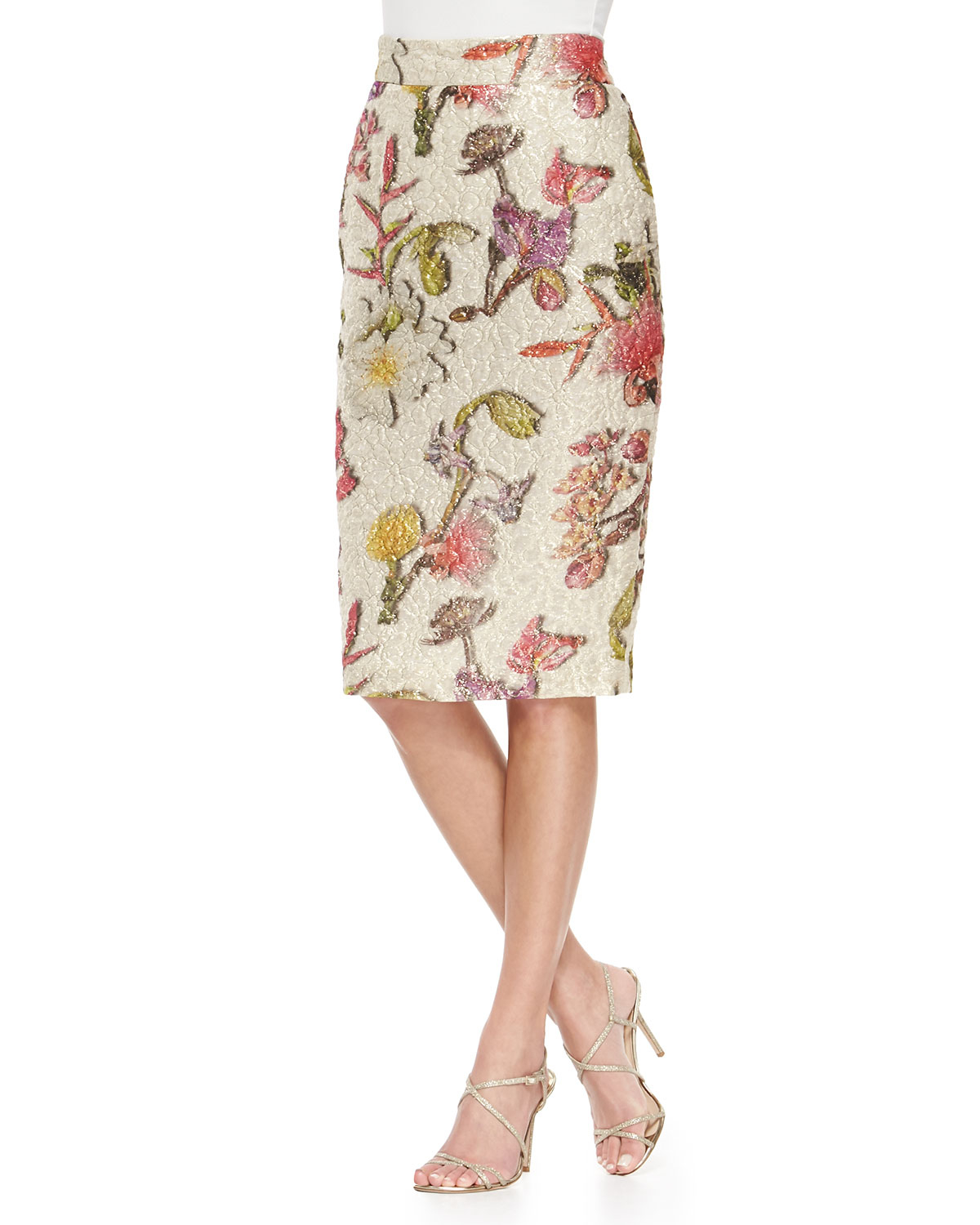 Floral pencil skirt fuck