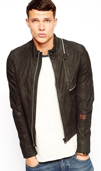 g star raw leather jacket aero in black for men lyst. Black Bedroom Furniture Sets. Home Design Ideas