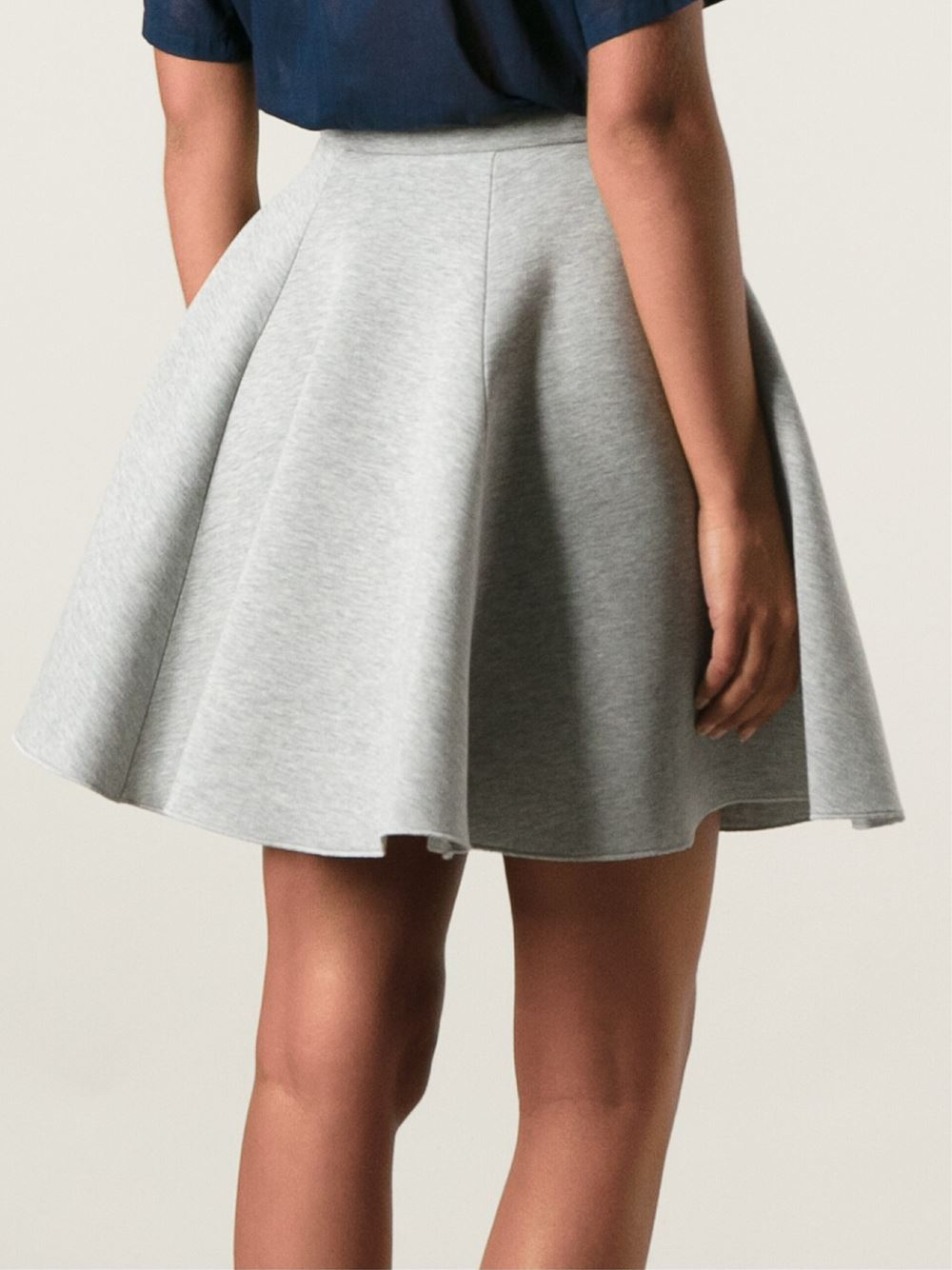 Msgm Flared Skirt in Gray | Lyst