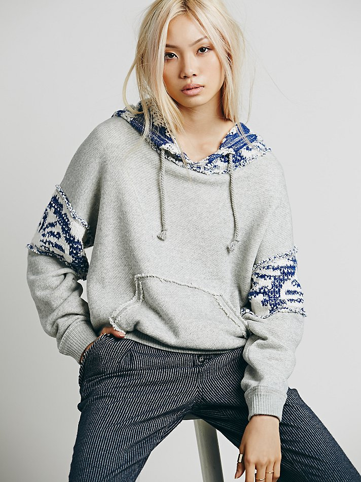 Lyst - Free people Fairisle Fleece Hoodie in Blue