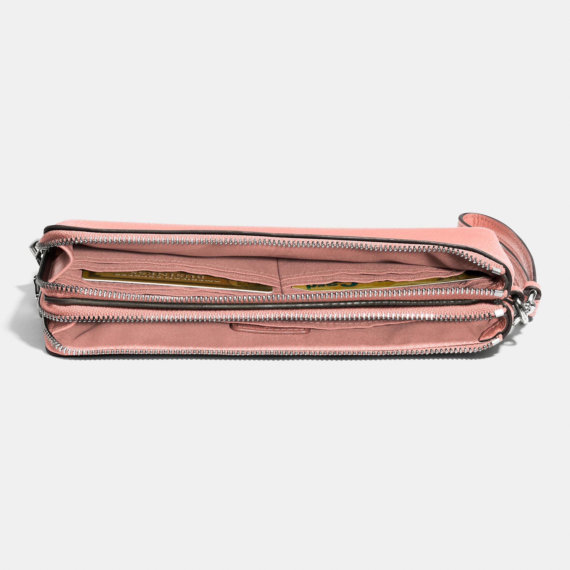 Coach Double Zip Wallet In Pebble Leather in Metallic : Lyst