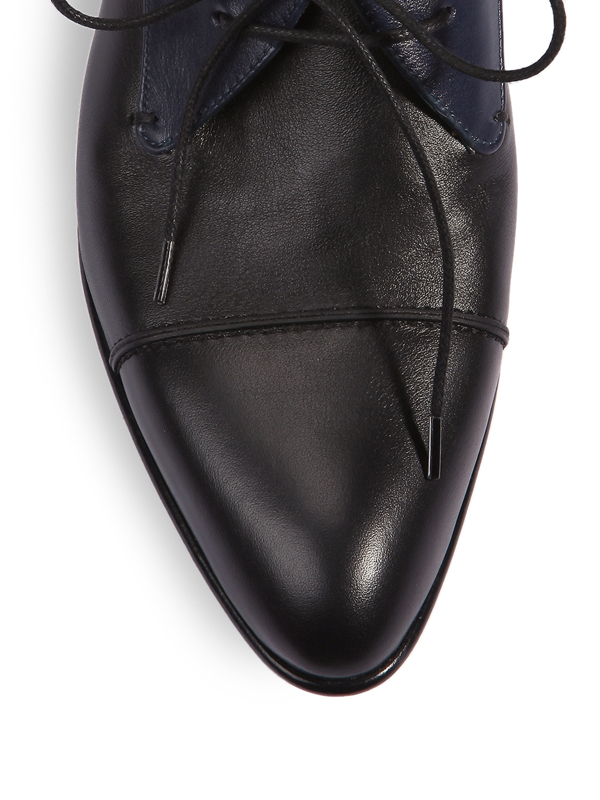 lanvin two tone leather derby shoes in black lyst