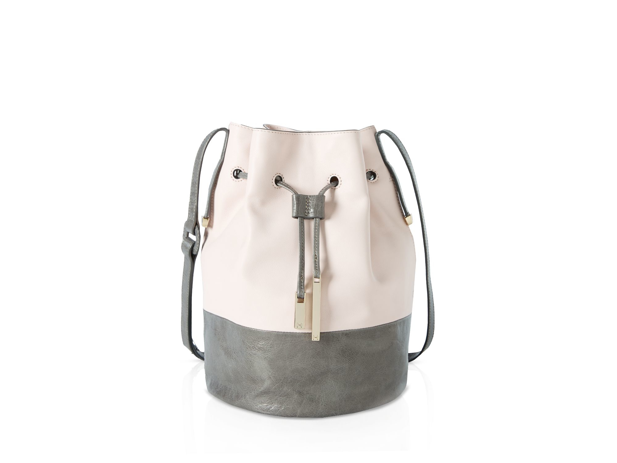 72080cac4578 Lyst - Halston City Casual Smooth Leather Colorblock Bucket Bag in Pink