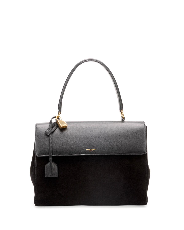 Lyst - Saint Laurent Moujik Large Suede Leather Satchel Bag Black in ... f1a2b19808