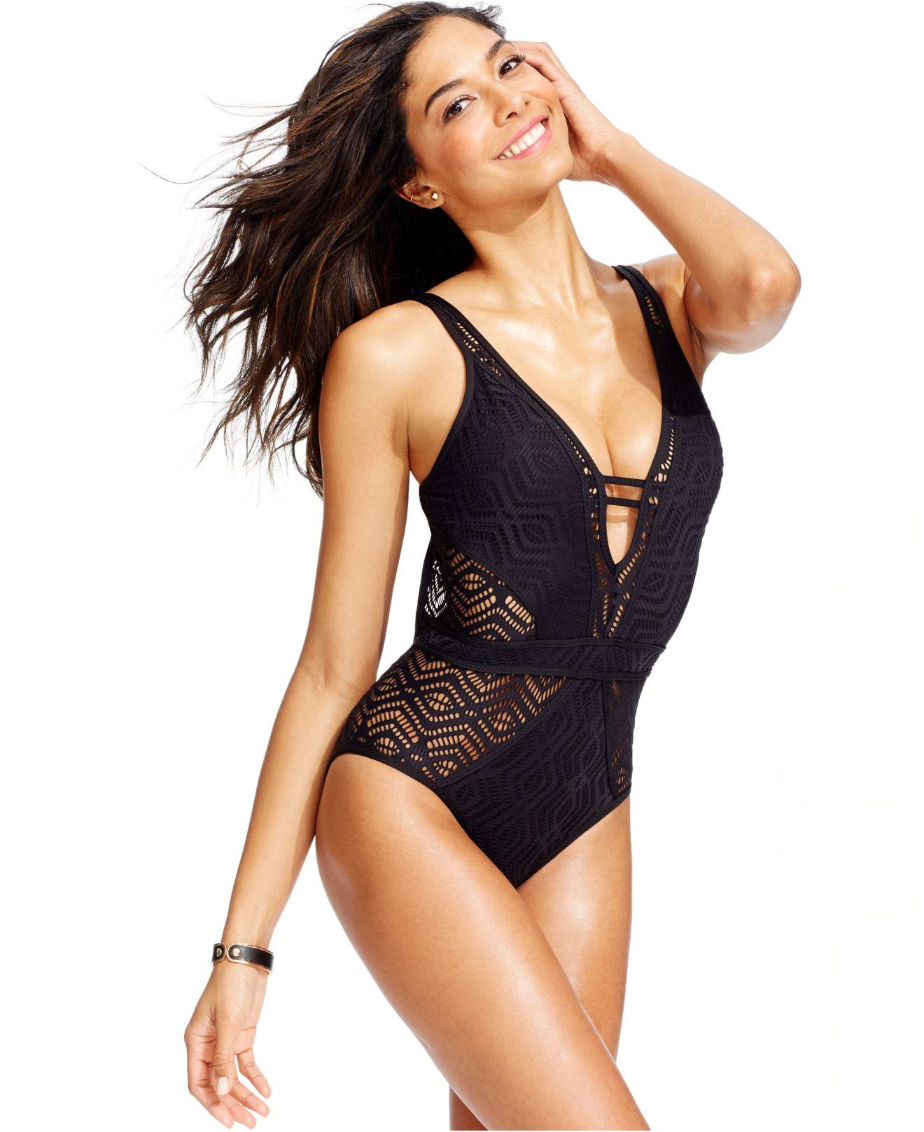 Becca Crochet One Piece Swimsuit In Black Lyst