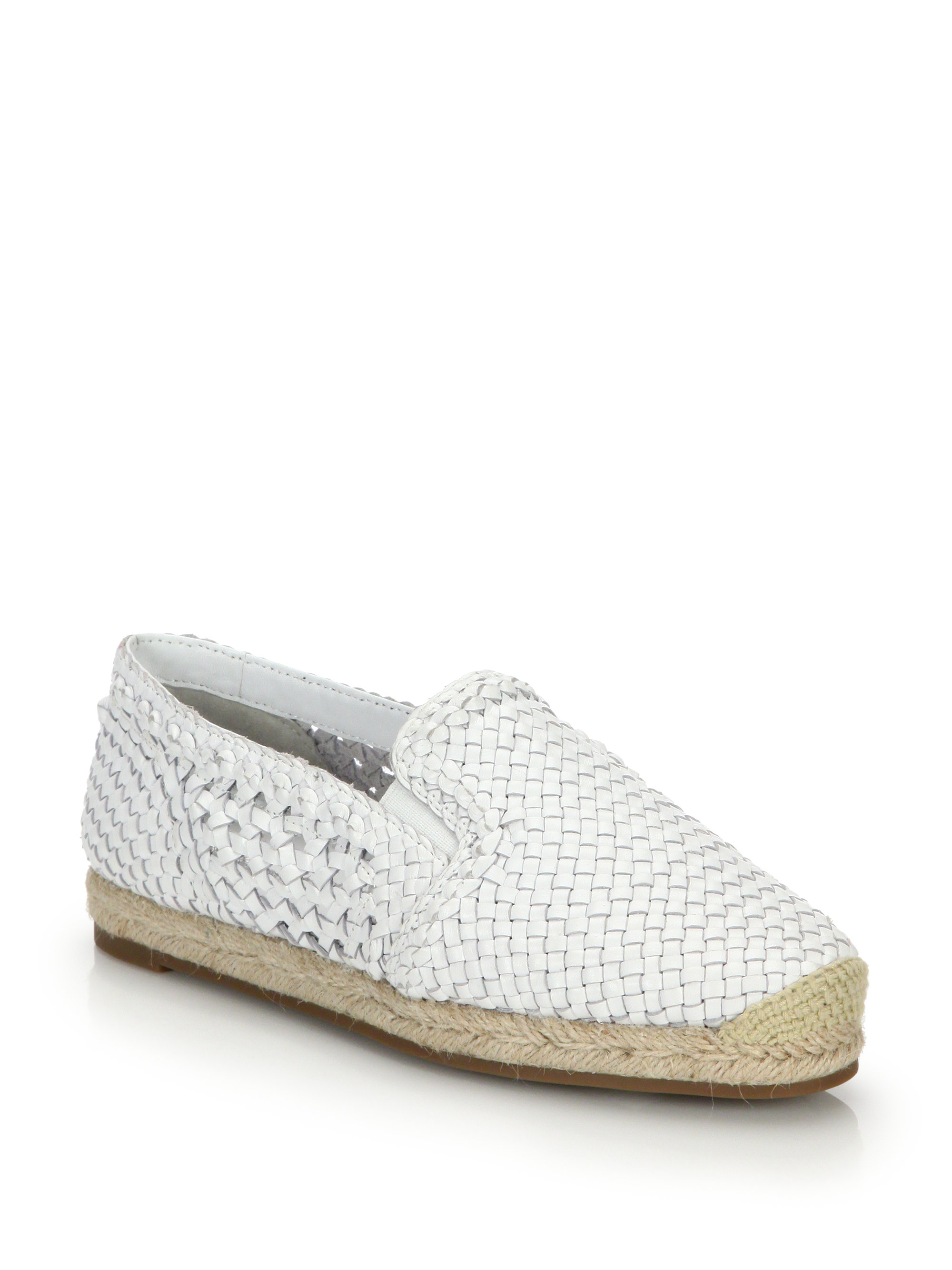 Lyst Michael Kors Toni Woven Leather Espadrille Flats In