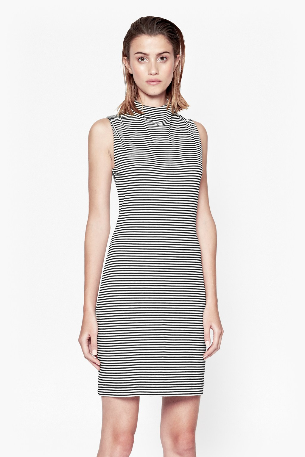 French Connection Liquorice Lines Sleeveless Dress In
