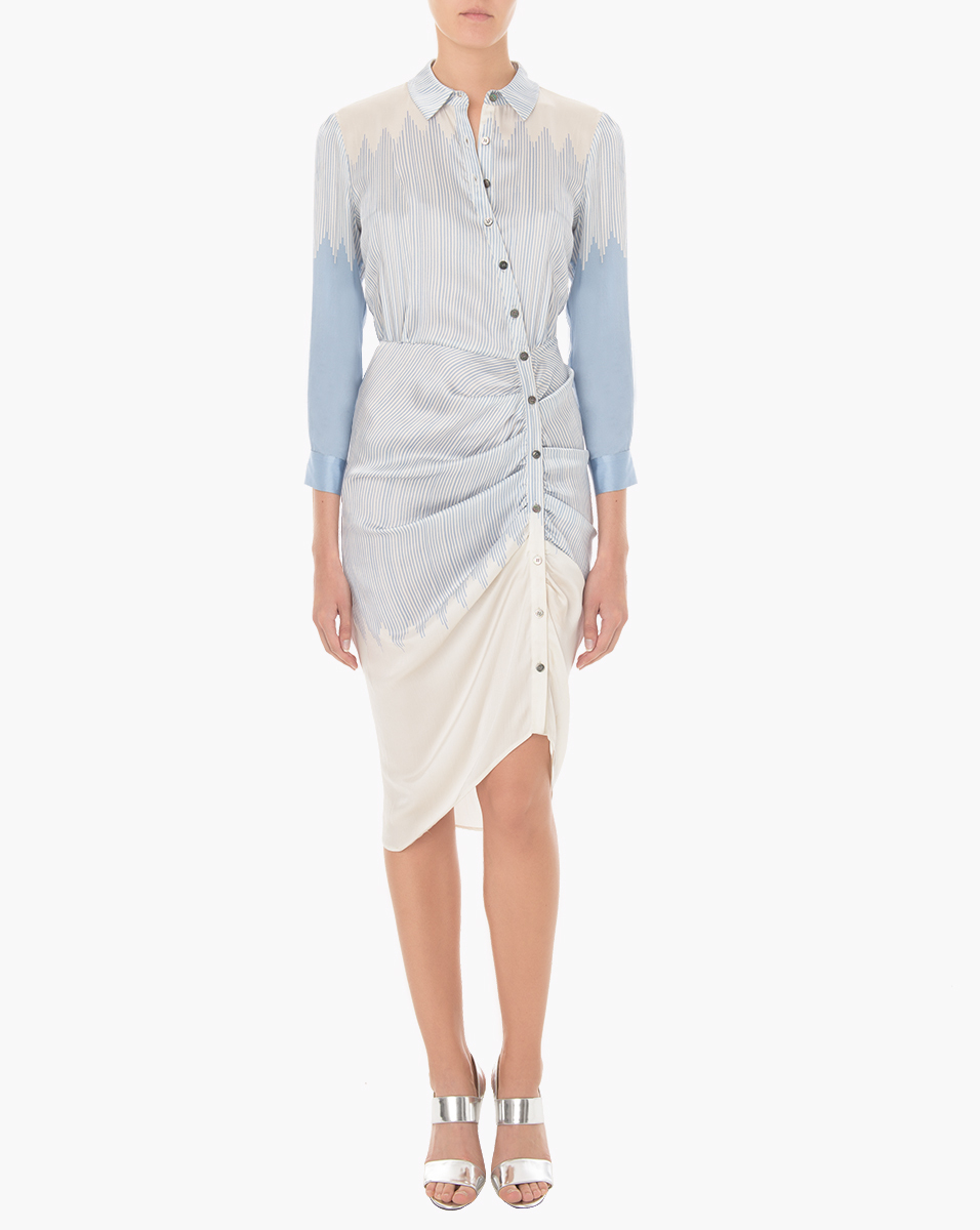 Lyst Veronica Beard Clara Ruched Shirt Dress In Blue