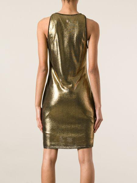 Roberto Cavalli Jacquard Snake Skin Tank Dress In Gold