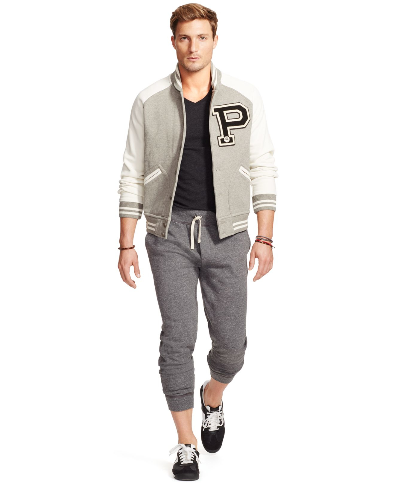 Polo ralph lauren Fleece Baseball Jacket in Natural for Men | Lyst