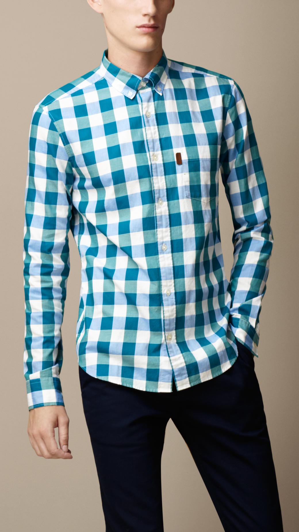 4ea7e7ba Lyst - Burberry Cotton Gingham Shirt in Blue for Men