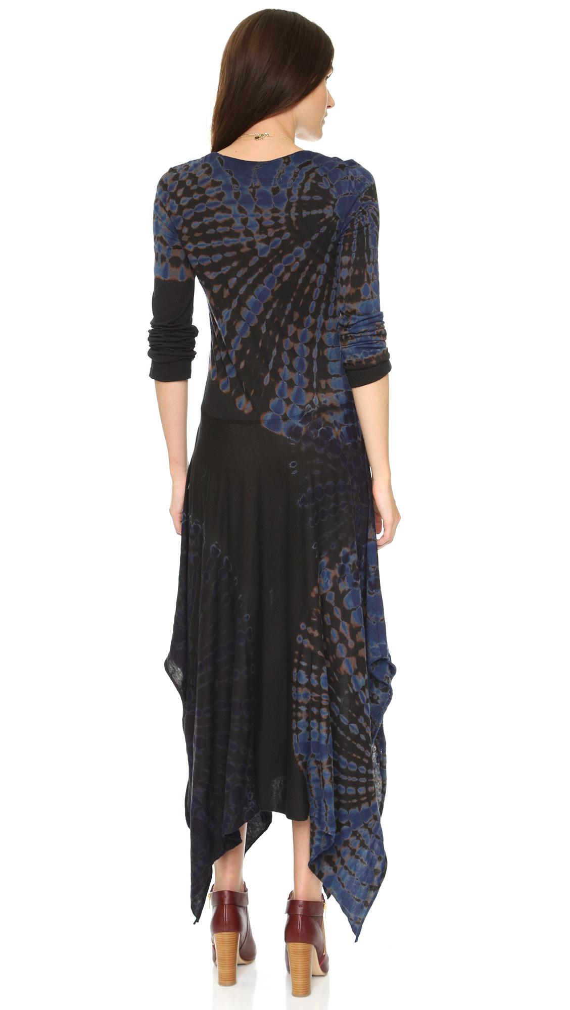 Raquel Allegra Long Sleeve Handkerchief Dress In Black Lyst