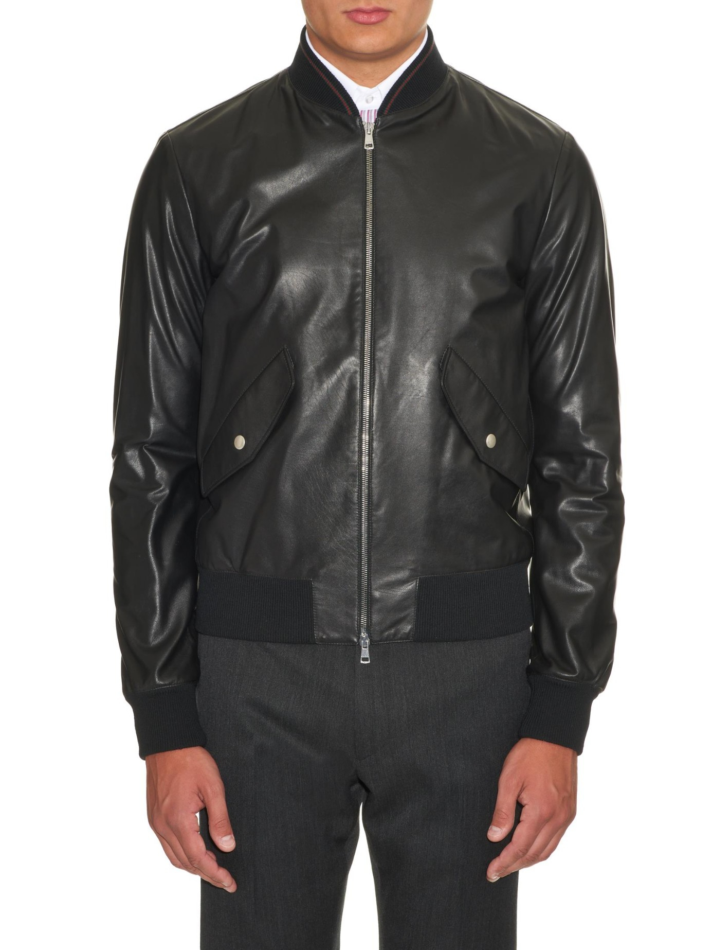 Gucci Lightweight Leather Jacket in Black for Men | Lyst