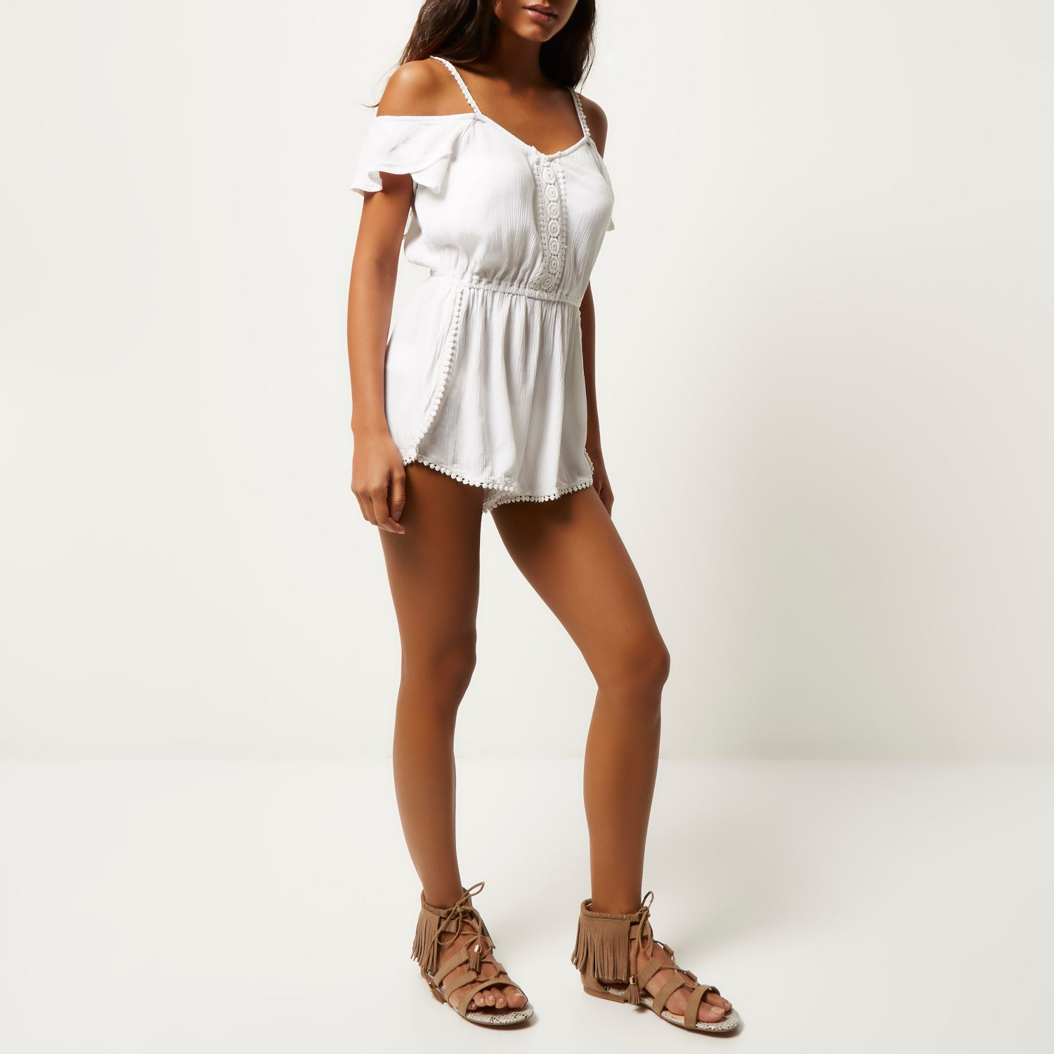 eef280b3da5 Lyst - River Island White Lace Trim Bardot Playsuit Cover-up in White