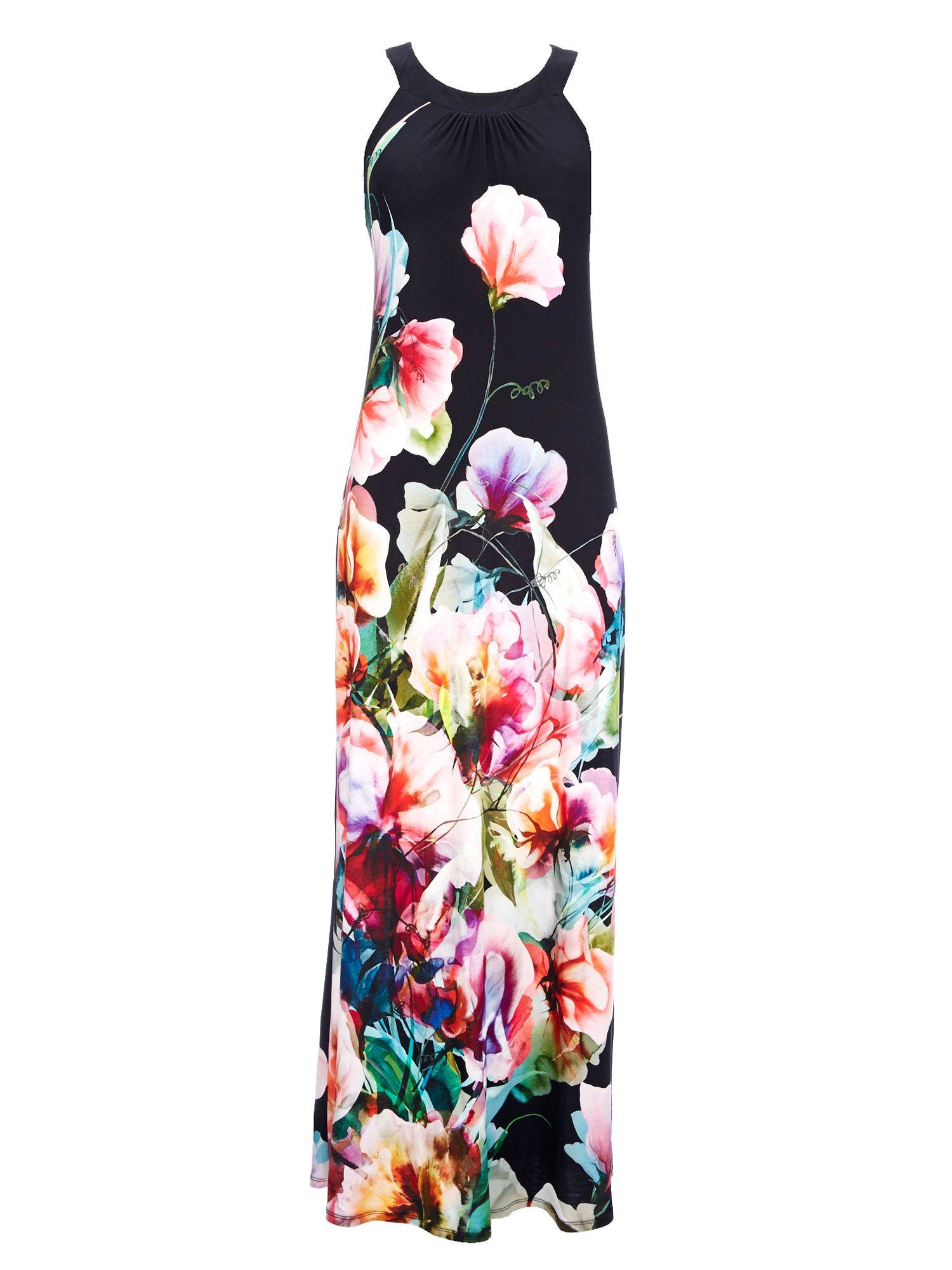 Wallis Black Floral Petite Maxi Dress In Black Lyst