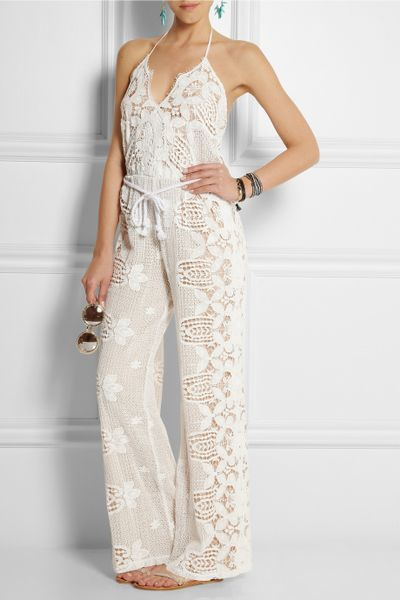 Crochet Jumpsuit : Miguelina Bianca Crocheted Cotton-Lace Jumpsuit in White Lyst