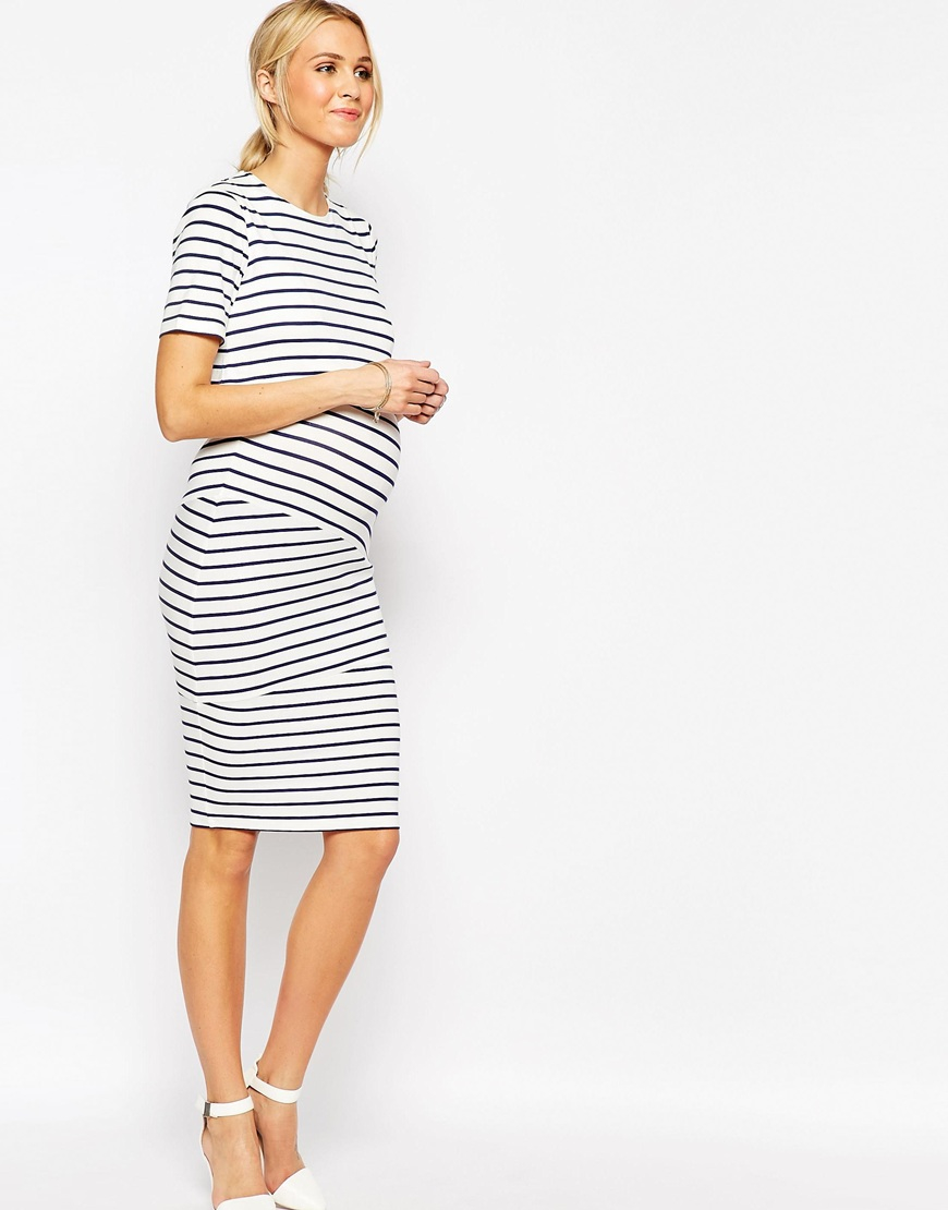 c0e0a54856c64 ASOS Maternity Nursing Double Layer Bodycon Dress In Stripe With ...