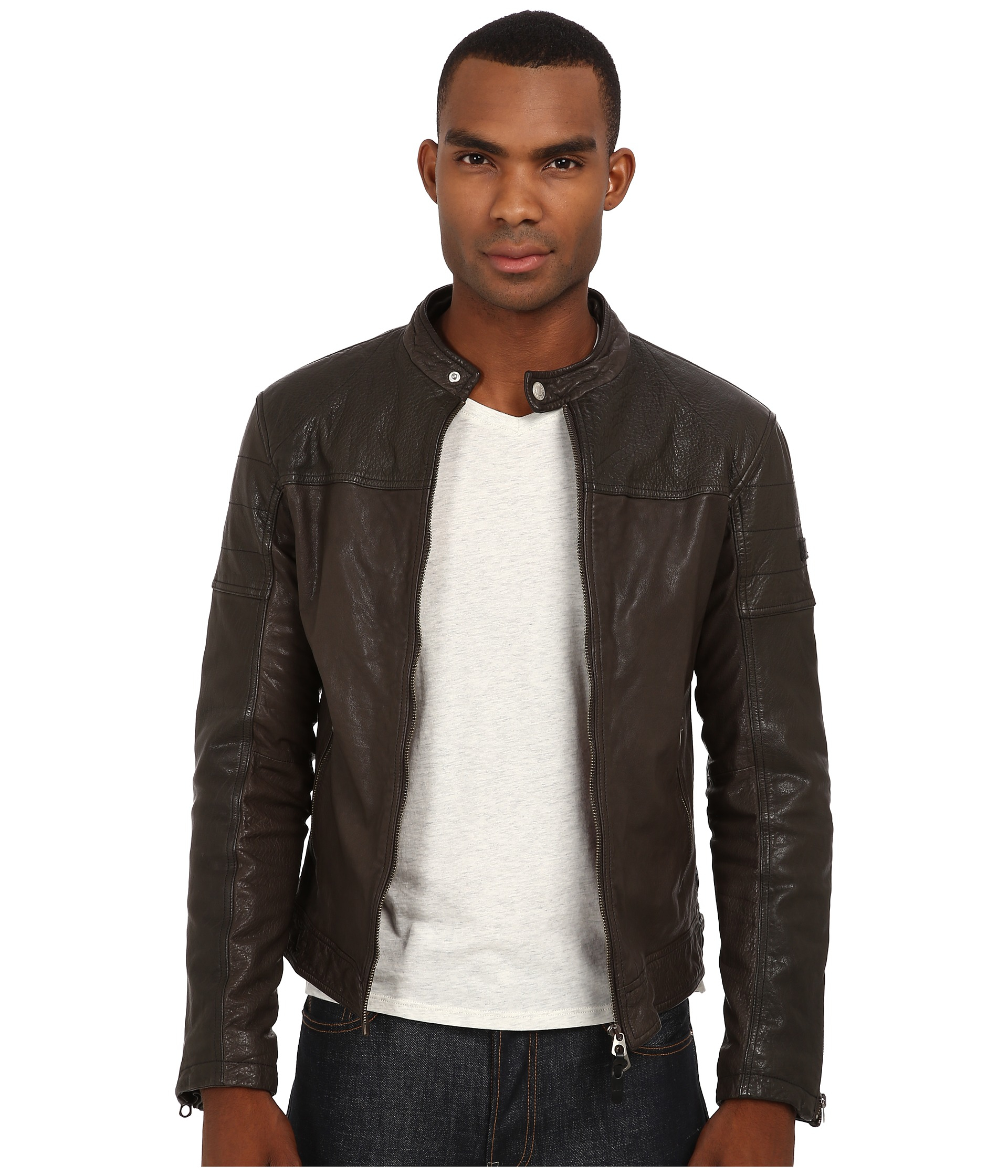 Lyst Armani Jeans Buffalo Leather Jacket In Brown For Men