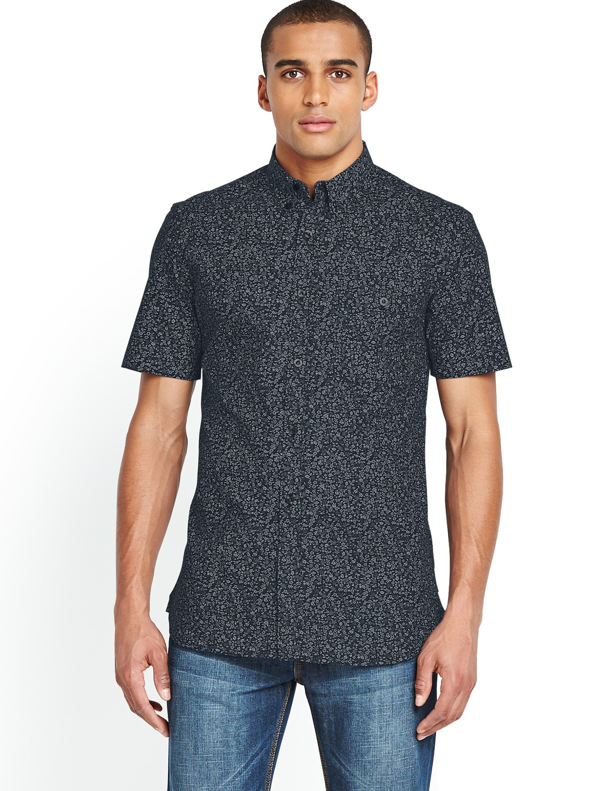 French connection mens short sleeve floral shirt in blue for Mens short sleeve floral shirt