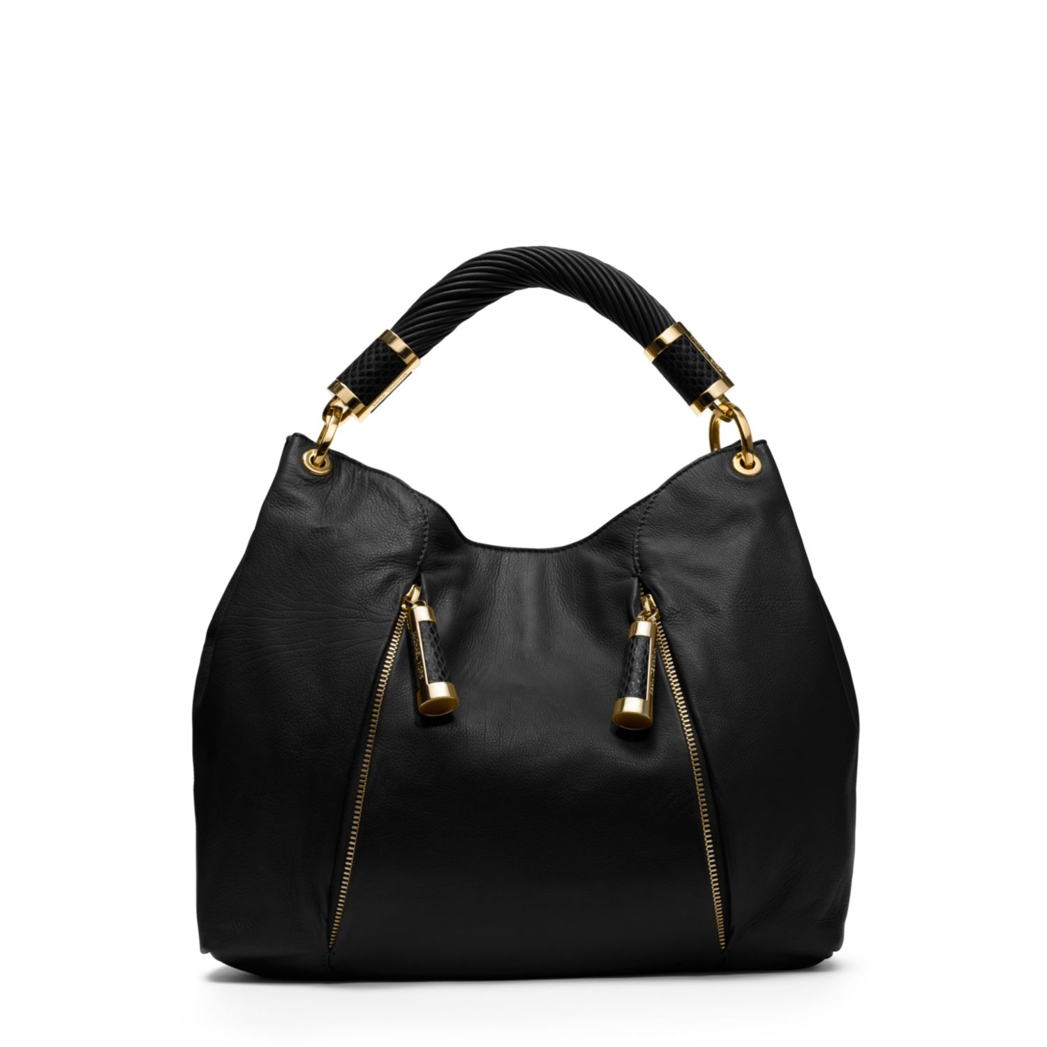 michael kors tonne leather hobo bag in black lyst. Black Bedroom Furniture Sets. Home Design Ideas