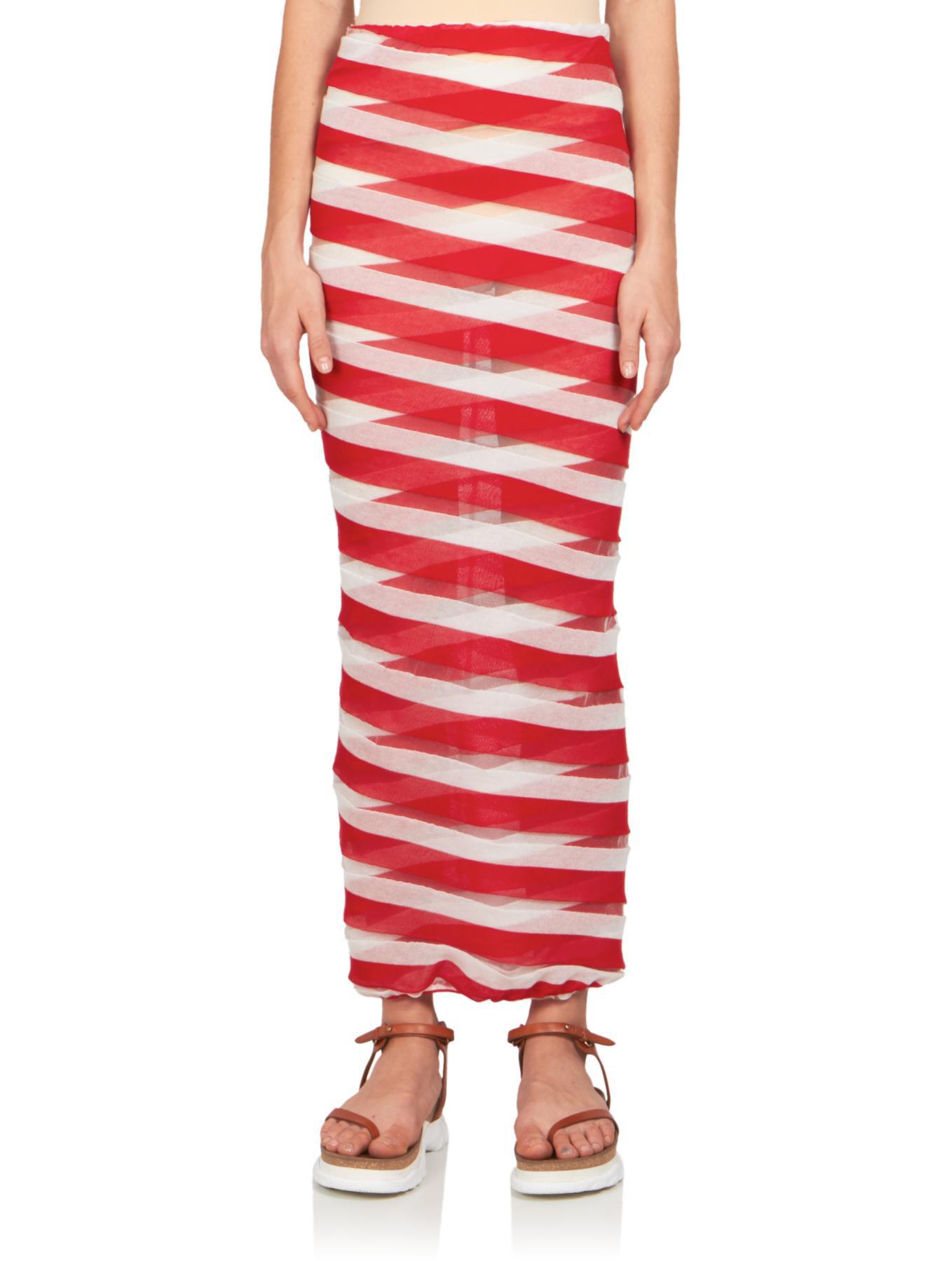stella mccartney striped fitted midi skirt in white lyst