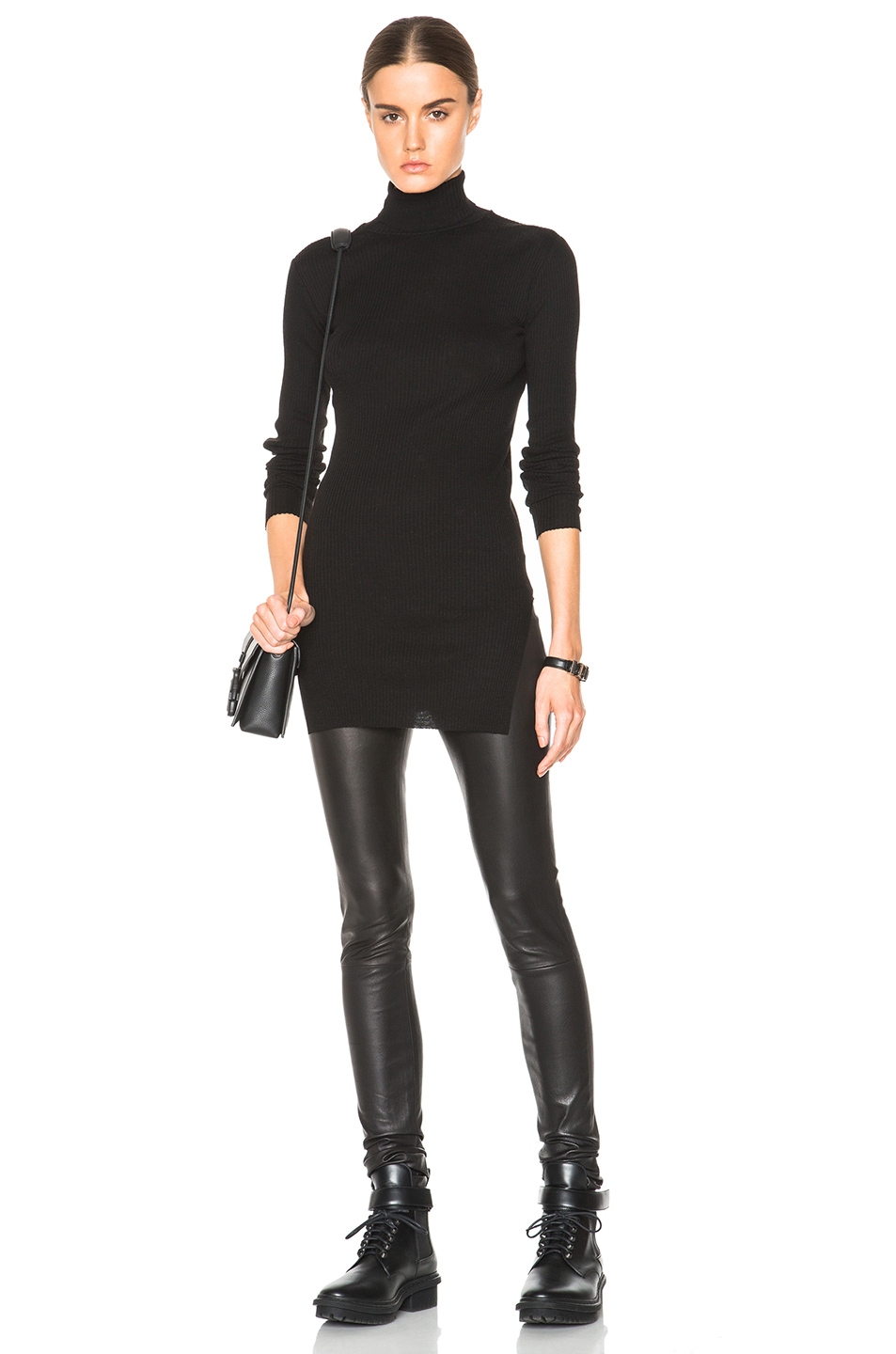 Helmut lang Fitted Turtleneck Sweater in Black | Lyst